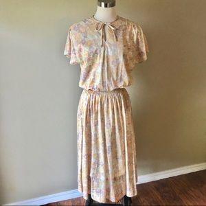 Vintage Union Made Floral Midi Dress Jacket Set